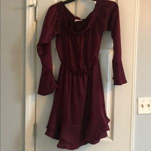 Everly Off the Shoulder Maroon Dress